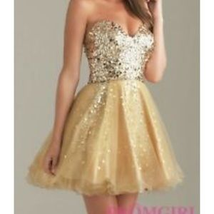 Night Moves Gold Sequin Homecoming Dress
